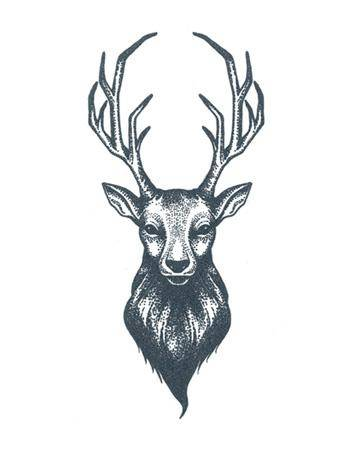 Tattooed Now! Temporary Tattoo - Dotwork Deer Tattoo