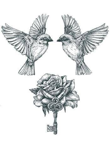 Tattooed Now! Temporary Tattoo - Birds, Rose and Key