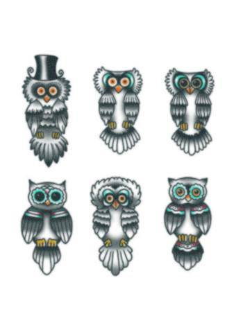 Tattooed Now! Temporary Tattoo - Finger Owls
