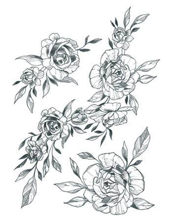 Tattooed Now! Temporary Tattoo - Flower Ornaments Set B/W