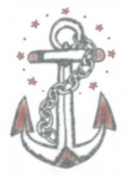 Tattooed Now! Temporary Tattoo - Anchor With Red Stars