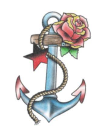 Tattooed Now! Temporary Tattoo - Anchor and Rose