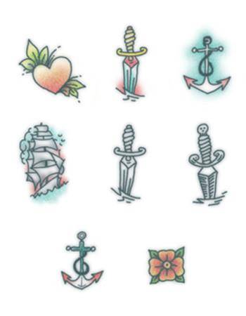 Tattooed Now! Temporary Tattoo - Sailor Finger Set