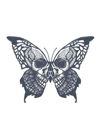 Tattooed Now! Temporary Tattoo - Skull Butterfly