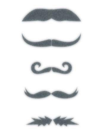 Tattooed Now! Temporary Tattoo - Finger Moustache Set
