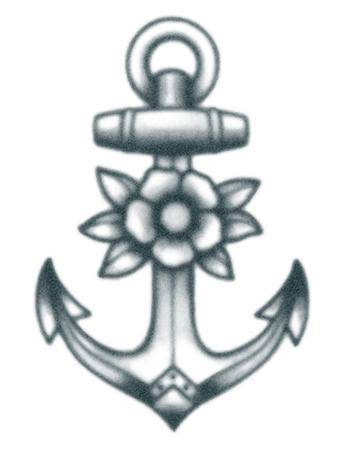 Tattooed Now! Temporary Tattoo - Vintage Anchor With Flowers