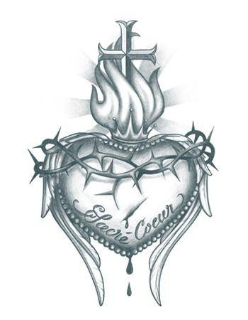 Tattooed Now! Temporary Tattoo - Sacred Heart with Cross